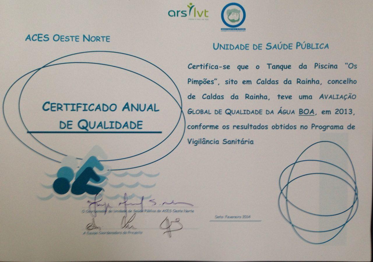 Certificado Anual de Qualidade